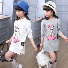 Chemise printemps-automne pour filles   Vêtements pour enfants, vêtements avec Long col, chemise de dessin animé, pour enfants de 4-10 à 14 ans, gris
