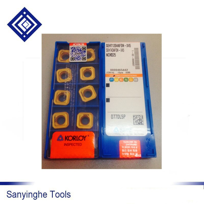 Details about  /10pcs Korloy SEHT1204AFSN-X45 NCM325 CNC Carbide For Processing Stainless Steel