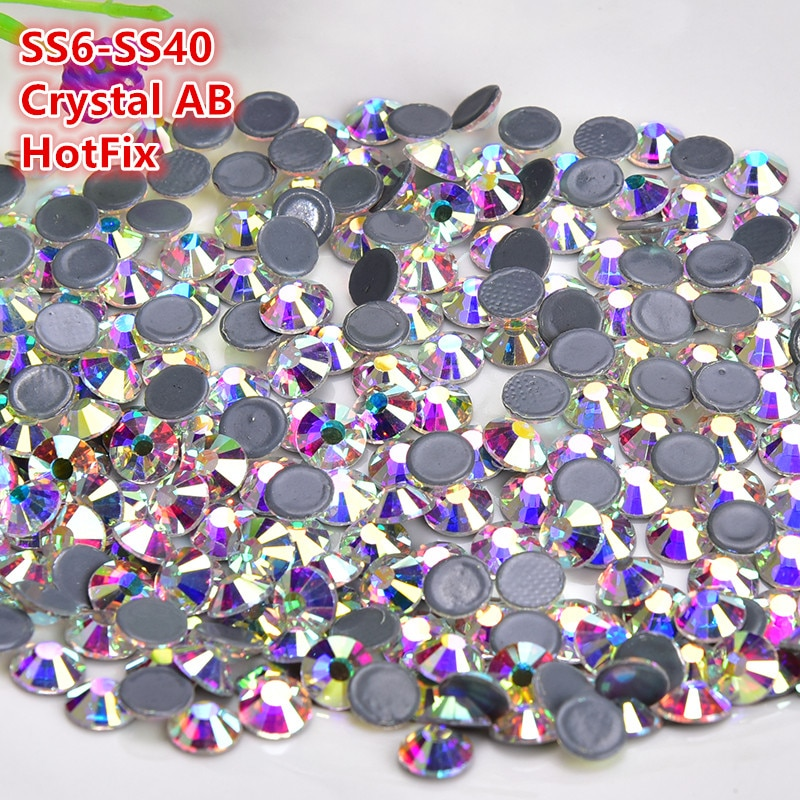SS6-SS40 Glass AB Hot Fix Rhinestone Super Bright Strass Iron On Crystal for Fabric Garment DIY Accessories Wedding Decoration