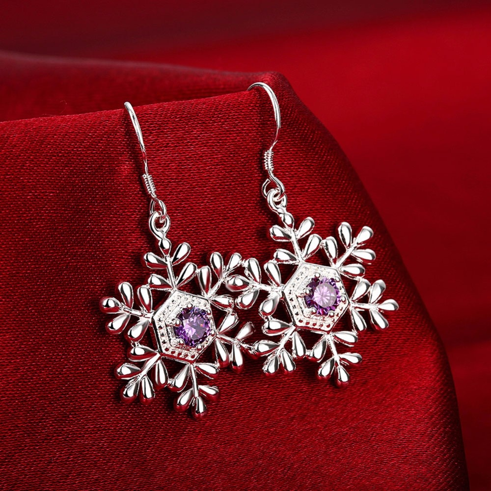 Todorova корейские модные фиолетовые хрустальные женские серьги металлические стразы Снежинки Висячие серьги Свадебные обручальные ювелирные изделия