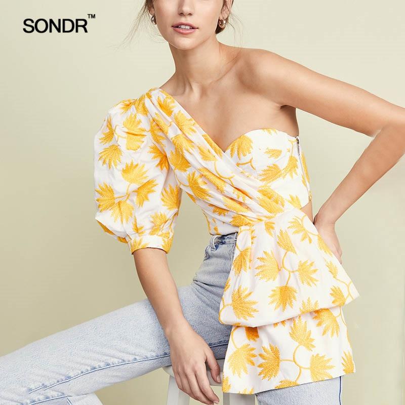 SONDR 2019 Summer printed blouses fashionable bubble sleeves short sleeves exposed shoulders irregular hem topless blouses women army green v neck half sleeves curved hem blouses