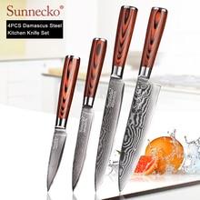 SUNNECKO ensemble de couteaux de cuisine japonais   Utilitaire de parage, couteau de Chef, damas VG10 en acier, manche en bois de Pakka coupe de haute qualité