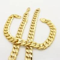 statement cuban chain set yellow gold filled mens necklacebracelet set 248 3