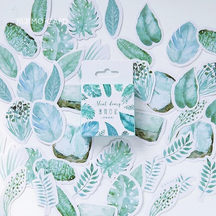 45-pz-pacco-menta-piante-decorativo-washi-adesivi-scrapbooking-etichetta-bastone-diario-di-cancelleria-album-di-adesivi