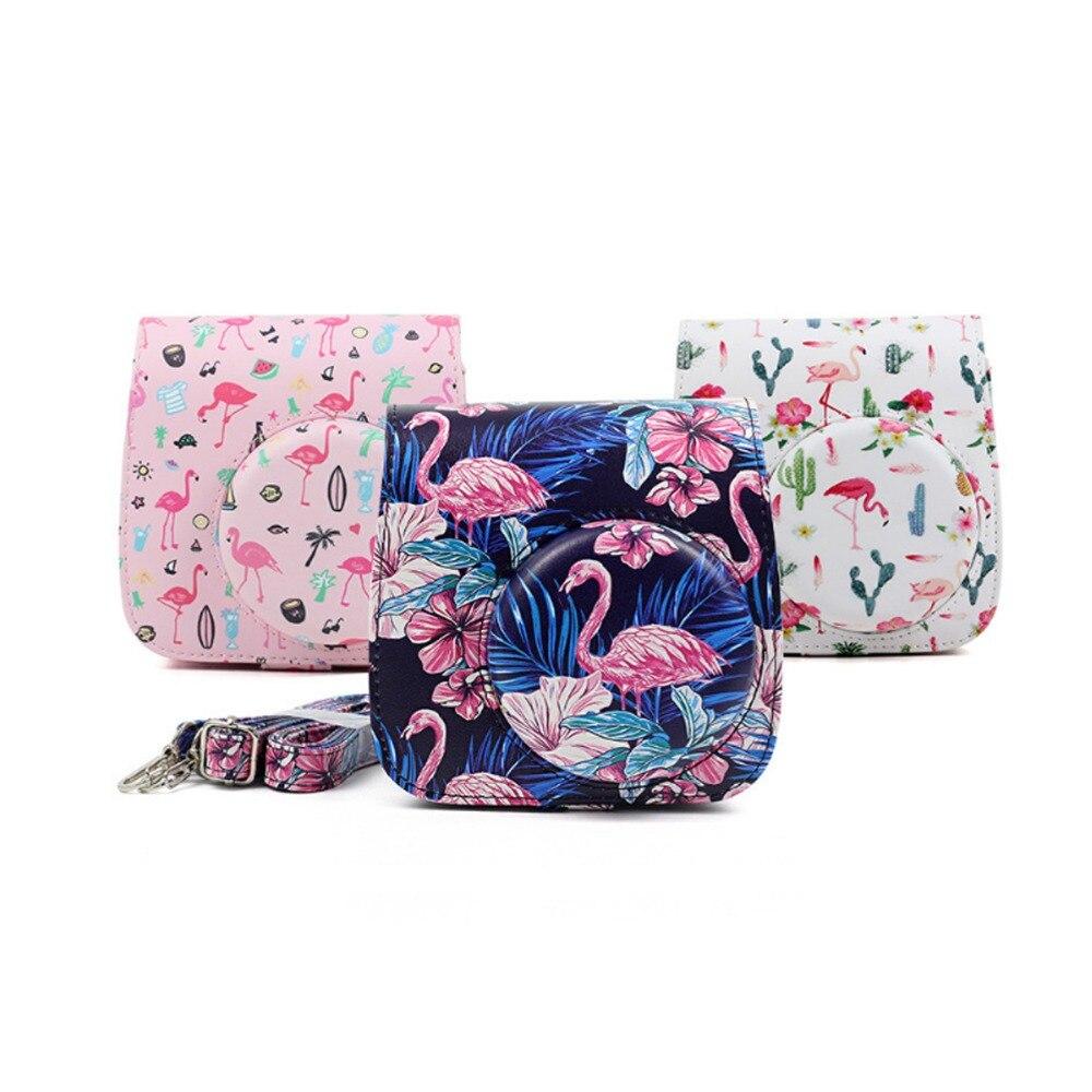 Flamingo Case PU Pouch Camera Bags With Strap Protector Cover For Fujifilm Instax Mini 9 Case Mini 8 8+ Photo Camera bag