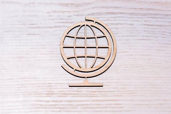 Globo de madera cortado en diferentes tamaños, recorte de madera, figura de madera contrachapada, adornos de decoración artesanal Decoupage sin pintar
