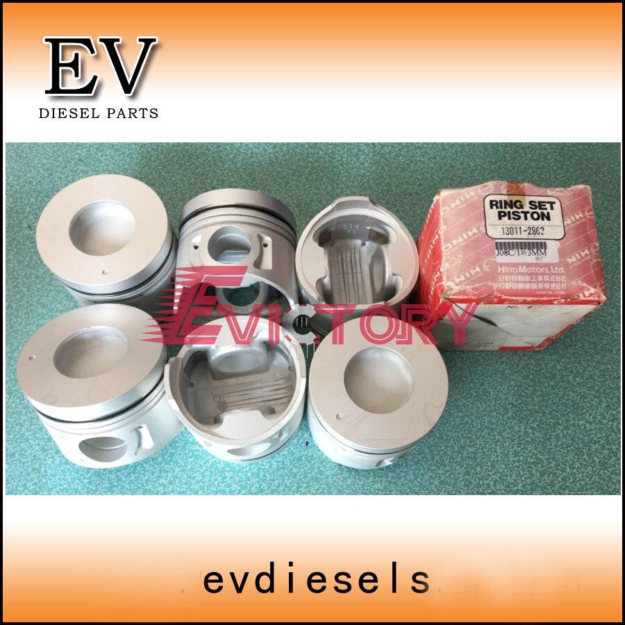 Kit de revestimiento de cilindro de motor para Hino J08C J08CT pistón y anillo de pistón cilindro manga