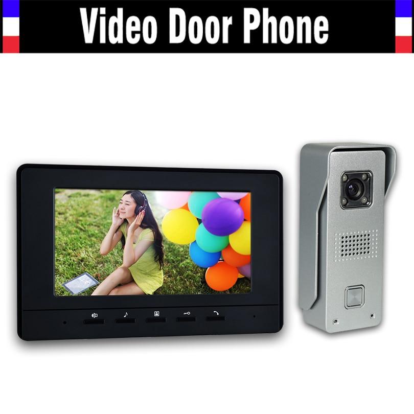 "7"" LCD Monitor Video Door Phone Intercom Doorbell System Home Video Intercom Kits IR night vision Camera Video Doorphone"