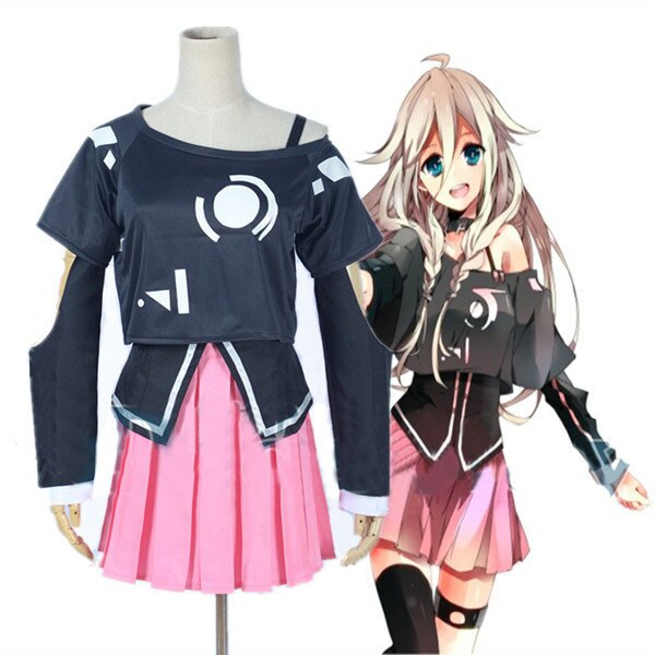 VOCALOID3 biblioteca IA Miku uniforme Cosplay disfraz lolita para fiesta de Halloween 2 top + falda + medias