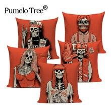 2018 nowa czerwona czaszka poszewka na poduszkę poduszki na sofę dekoracja do samochodu poduszki niestandardowe Halloween dzień nadruk na tkaninie lnianej obicia na poduszki