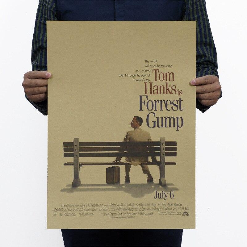 Forrest Gump Poster do Filme de Papel Kraft Do Vintage Mapa Casa Garagem Parede Decalques Decoração Da Parede Arte DIY Decoração Retro Imprime
