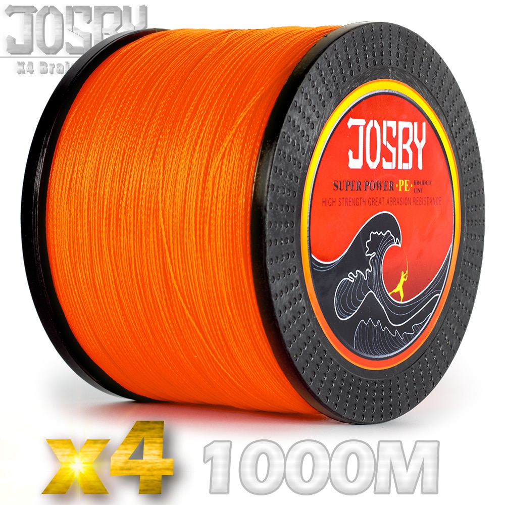 JOSBY 8 Braided Fishing Line 1000M Multifilament PE 4 Strands Fishing Cord 10LB-85LB Strong Japan Technology Orange 9 colors