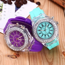 New Fashion  Flash Luminous Watch Personality Trends Students Lovers jellies Woman Men's Watches 7 c