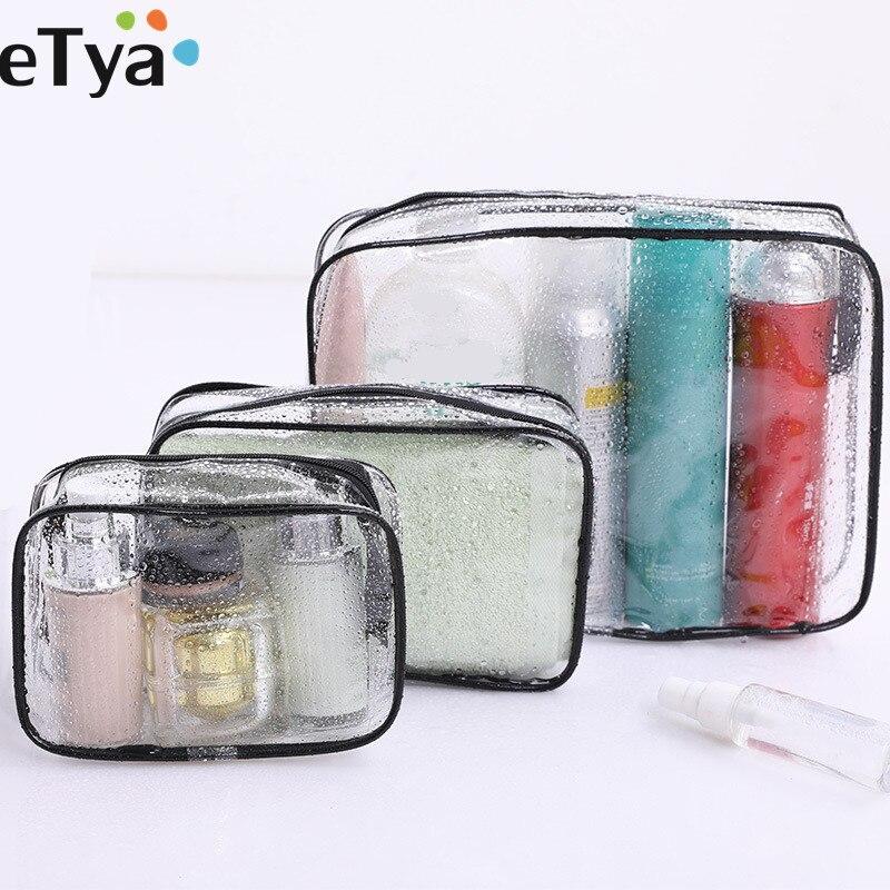 ETya, bolsa de cosméticos transparente impermeable para mujeres, bolsa de maquillaje de viaje de PVC, neceser de baño, neceser de lavado, organizador de belleza, estuche