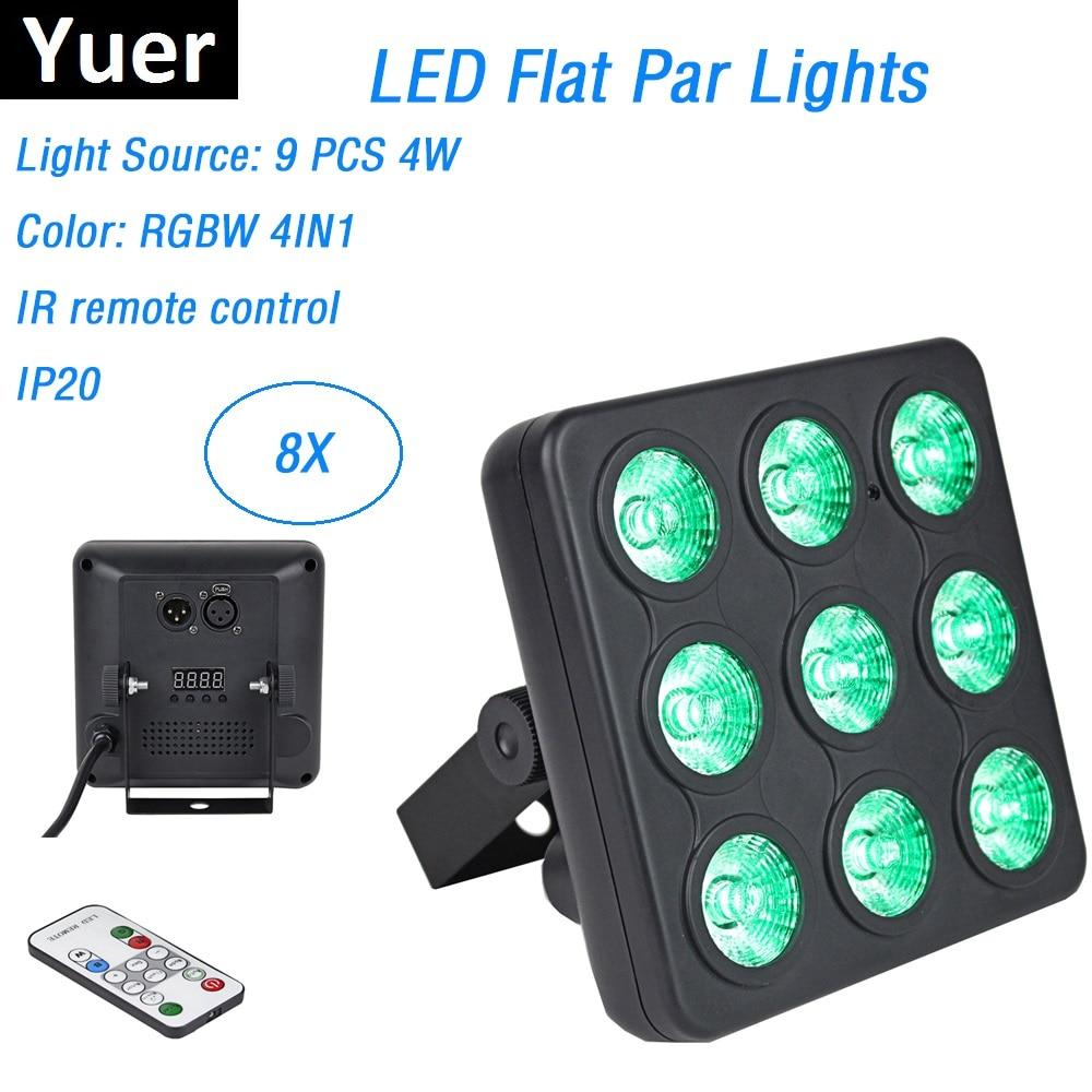 8 Units Mini LED Panel Show High Quality 9X4W RGBW 4IN1 LED Flat Par Lights Par LED DMX Stage Wash Lights With IR Remote Control