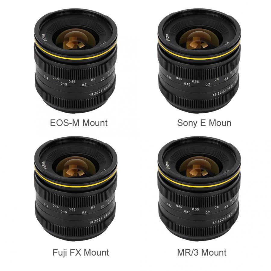 Kamlan, lente de foco fijo Manual de cámara sin espejo impermeable portátil de 21mm F1.8 para Canon EOS-M, para Sony E, FX para Fuji/M4/3