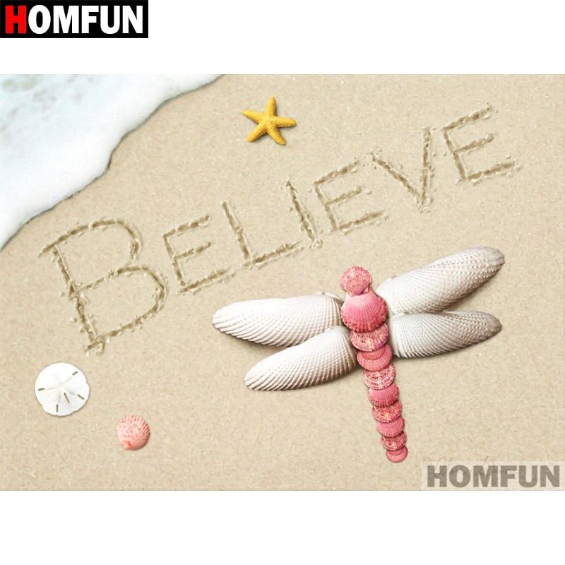 "HOMFUN Full Square/Round Drill 5D DIY Diamond Painting ""Beach shells"" Embroidery Cross Stitch 5D Home Decor Gift A07170"