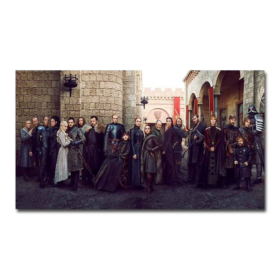 Póster de Juego de tronos 8 con todos los personajes, lienzo artístico para pared, cuadro decorativo, papel tapiz, decoración para sala de estar, Daenerys