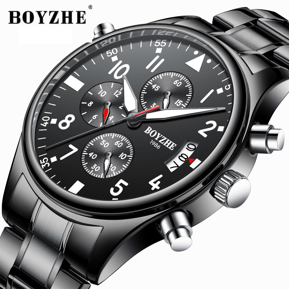 Relógios de Quartzo da Forma Multi-função de Luz de Aço Inoxidável de Luxo da Marca Relógio de Pulso Boyzhe Homens Esporte Militar Relógio Masculino