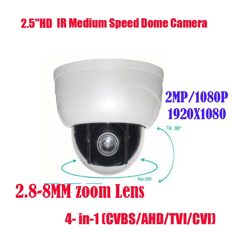 Envío Gratis nuevo 2MP IR 15 M 3x Zoom óptico AHD TVI CVI CVBS 4 en 1 cámara domo PTZ 2 megapíxeles 2,8 ~ 8mm