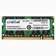 Mémoire dordinateur portable cruciale DDR2 667/800 MHZ DDR2 2GB 4GB RAM pour ordinateur portable 4GB = 2 pièces 2G PC2-5300/6400 S 1.8V