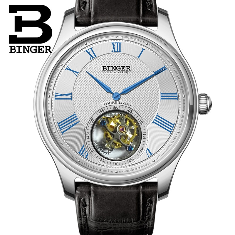 BINGER-ساعة رجالية ميكانيكية ، ساعة يد رجالية عالية الجودة ، سوار جلد التمساح ، ياقوتي ، موديل 2017