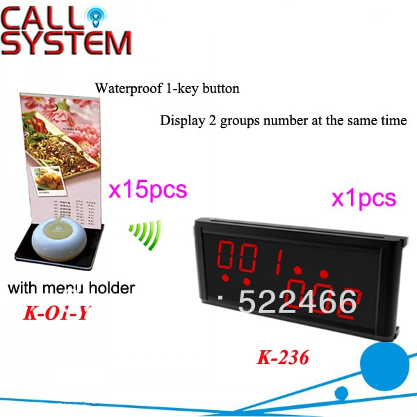 Waiter Calling System K-236+O1-Y+H for restaurant with 1-key button with menu holder and display DHL free Shipping