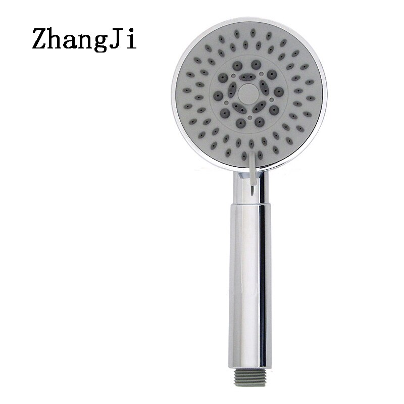 Cabezal de ducha ZhangJi con cinco agujeros de Gel de sílice, ahorro de agua con cabezal de ducha cromado, boquilla rociadora de baño en dos colores