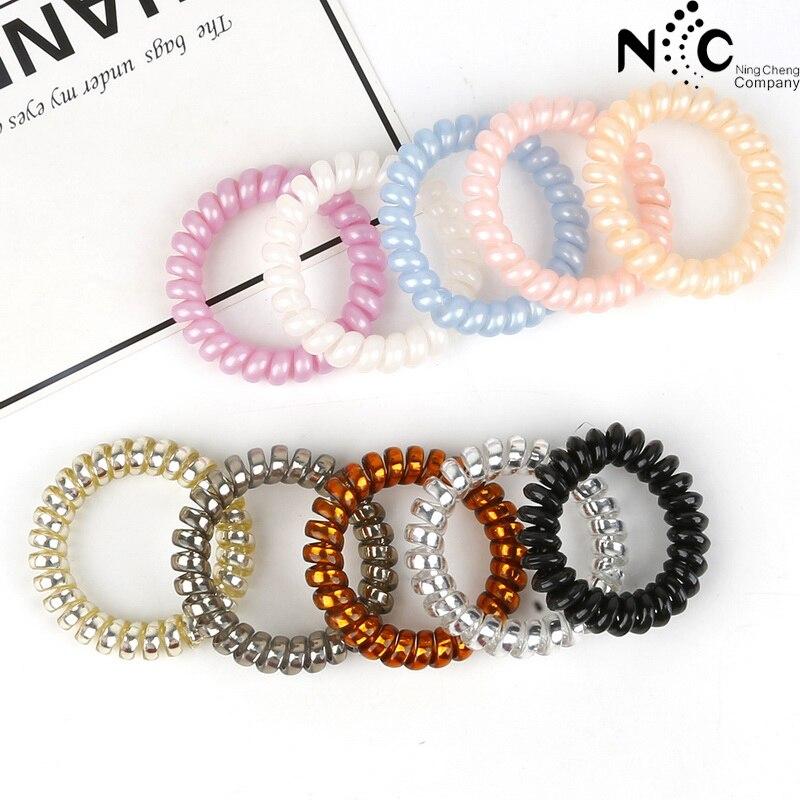 4-10 unids/lote de accesorios para el cabello de las mujeres scrunchies teléfono Línea alámbrica banda para la cabeza bandas de goma elásticas para el cabello cuerda para niñas