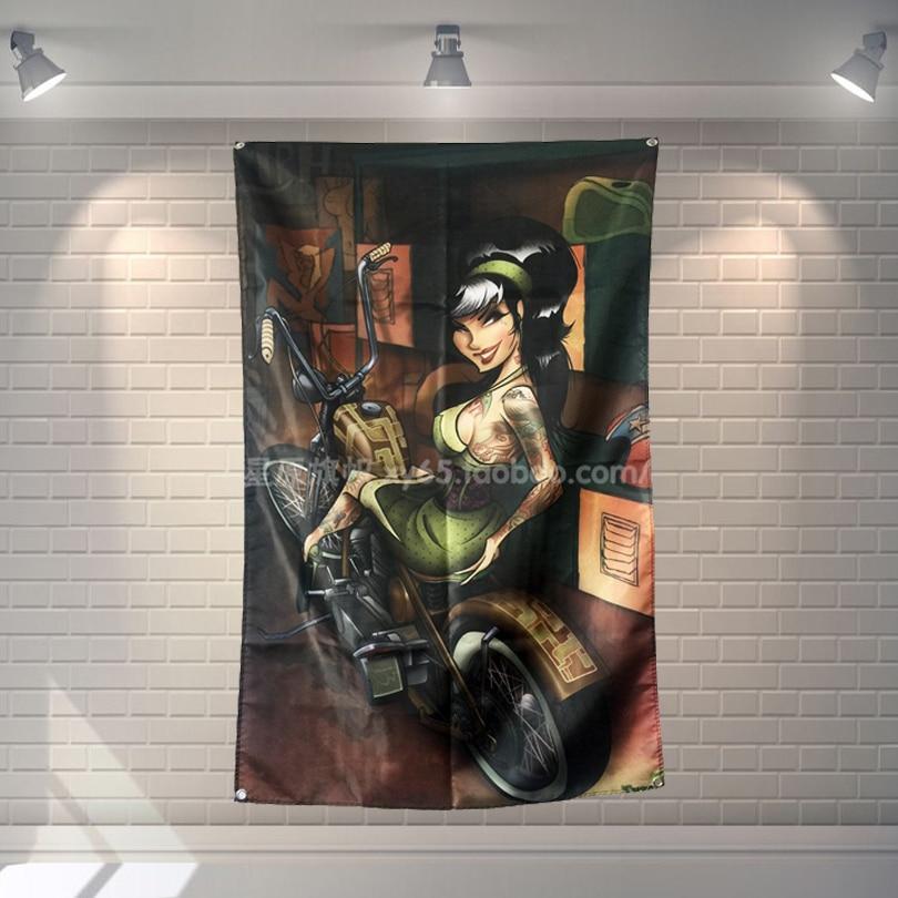 Motorbiker Tattoo Flagge Banner Sexy dame Schönheit und Art Home Dekoration Hängen flagge 4 Gromments in Ecken 3 * 5FT 144 cm * 96 cm