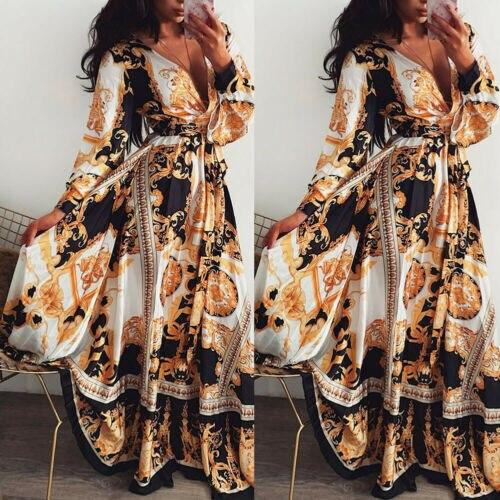 Mujeres Boho Wrap verano largo vestido de vacaciones Maxi suelta Sundress Floral estampado cuello pico manga larga Elegante vestidos de cóctel
