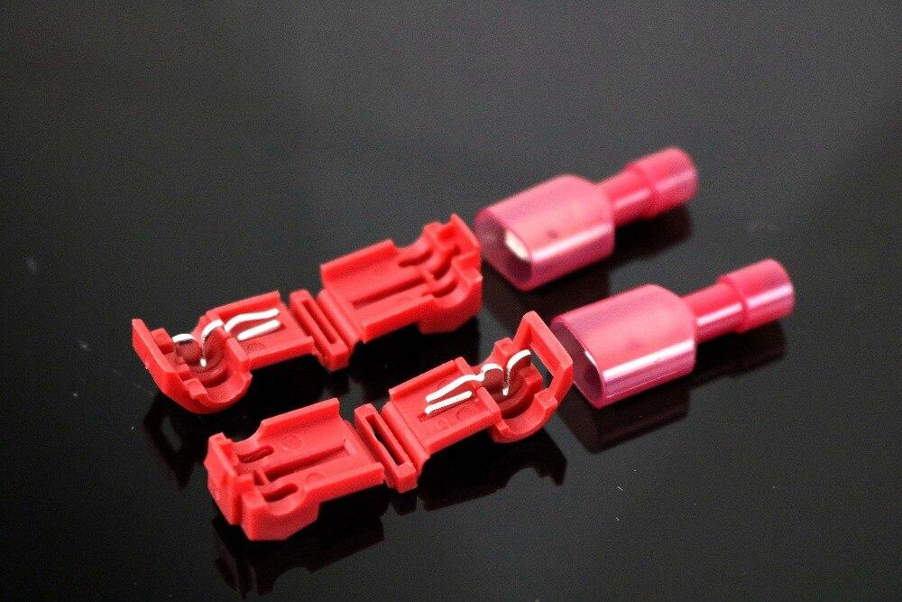 10 pces 5 conjunto t tipo fio elétrico rápido macio vermelho que conecta o terminal sem quebrar a linha conector não destrutivo