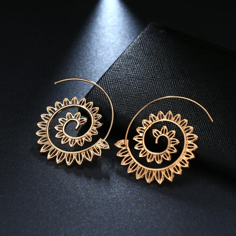 Vienkim estilo étnico geométrico redemoinho hoop brinco para mulher 2018 steampunk estilo feminino festa jóias acessórios