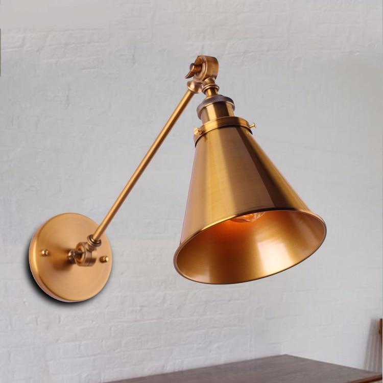 Retro bronce lámpara de pared ventilador brazo mecánico doble barra de pared creativa personalidad lámpara de pared GY8