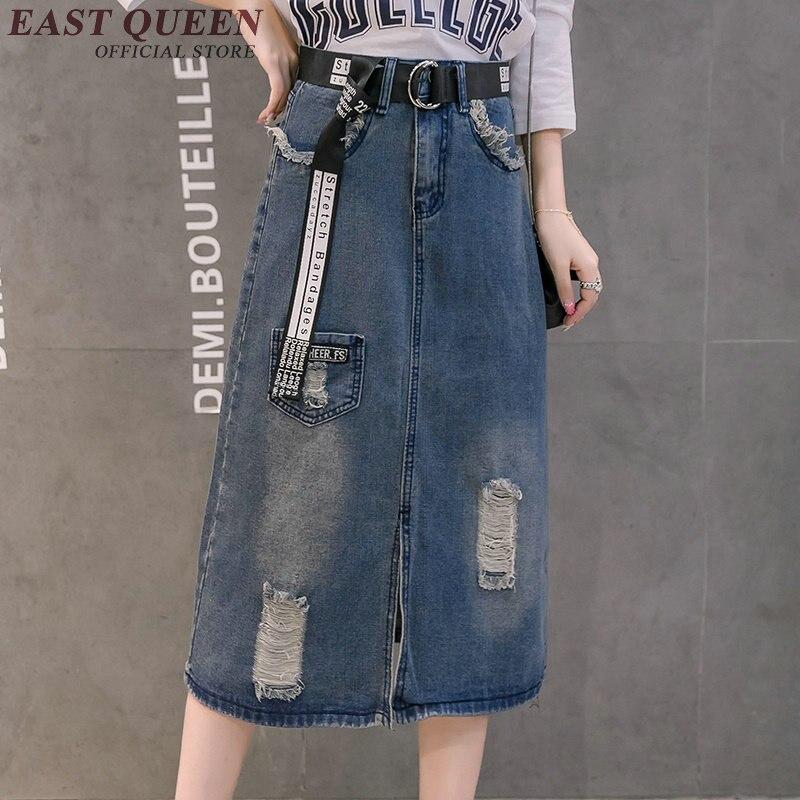 Casual A-line skirts womens 2018 new arrival denim skirts female knee length long skirt high waist xxxl AA2842 YQ