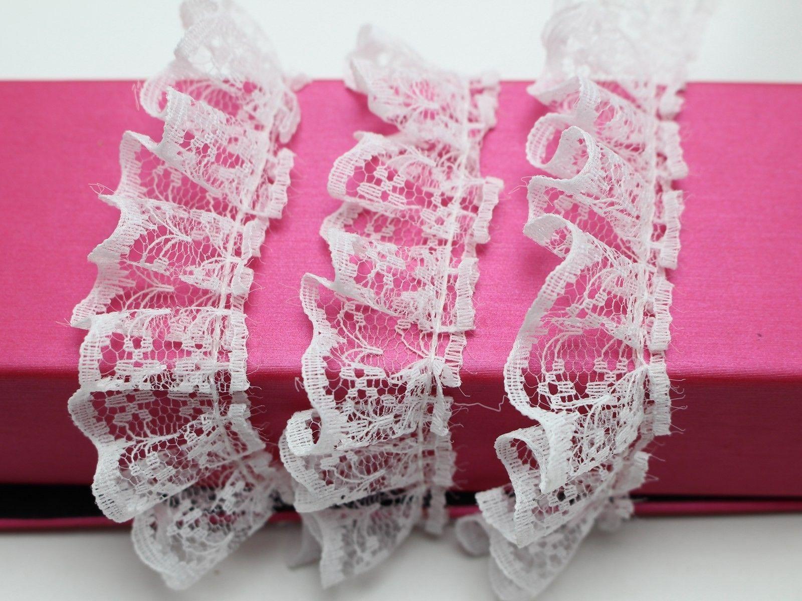 5 metros volante blanco cinta para ajuste, cordón 23mm costura artesanía de boda DIY