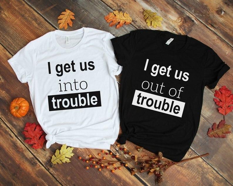 Skuggnas me nos en problemas que nos fuera de problemas mejor camisa de amigos BFF juego camiseta de cumpleaños bff regalo ropa
