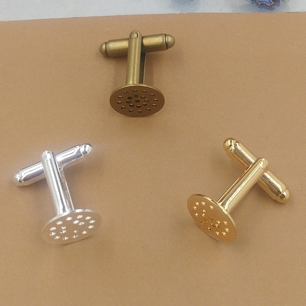 10pcs/lot 12mm Cufflink Blank Settings Brass Blanks Bezel Base For 12mm Cabochon Cameo DIY French Style Cufflink Markings