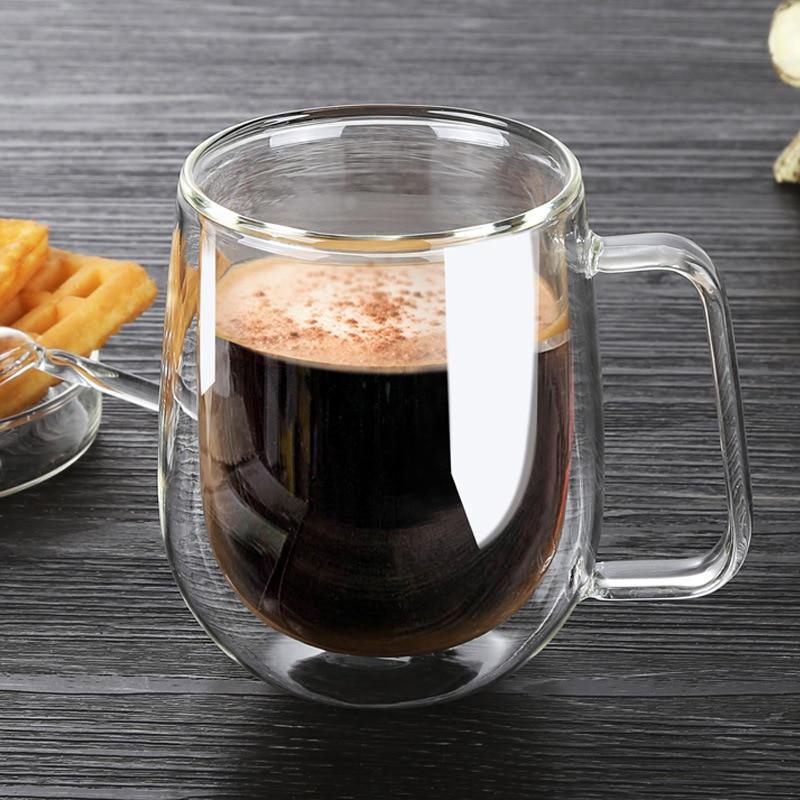 Coffee Cups Set Tea Mugs Handmade Creative Beer Drink a Mug of Office Mug Transparent Drinkware Double Glass Cups