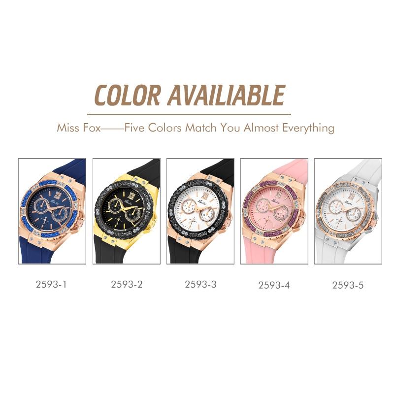 MISSFOX Women Watches Luxury Brand 18K Gold Black Chronograph Guessing Diamond Watch Waterproof Rubber Quartz Ladies Wrist Watch enlarge