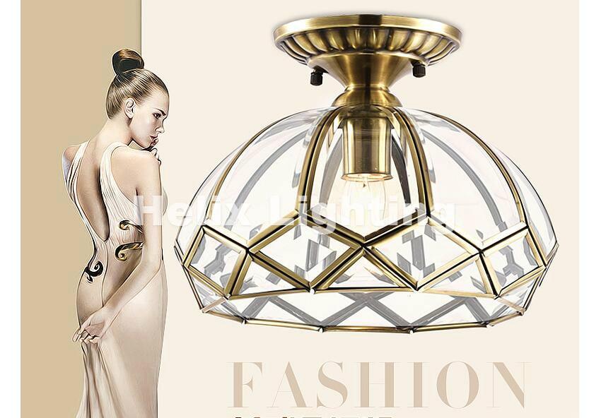 Bronze Europe Retro Copper Frosted Glass Foyer E27 Led Ceiling Light Lustre Electroplated Brass Lights Bedroom Loft Lamp