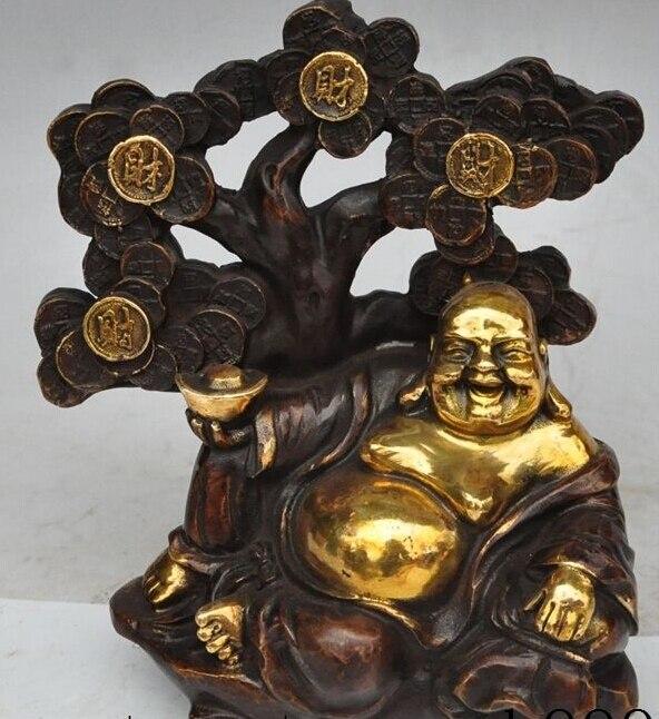 """$ Old craft $ bonito 8 """"chinês bronze dourado riqueza dinheiro moeda lingote ruyi maitreya buda estátua sorte"""