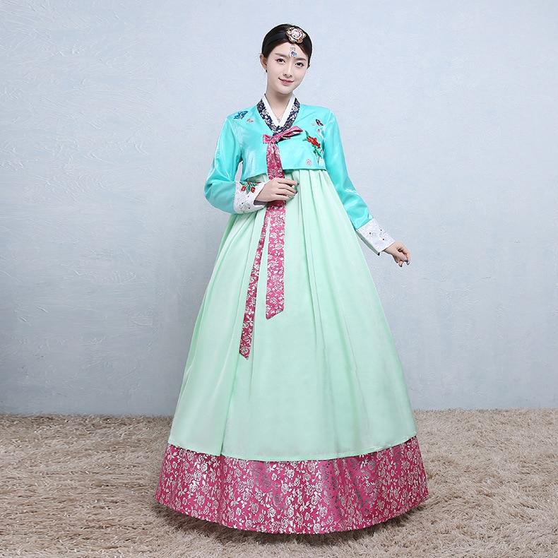 Vestido tradicional coreano de mujer nacional Hanbok bordado palacio antiguo coreano Hanbok Vestido de manga larga ropa asiática minoritaria