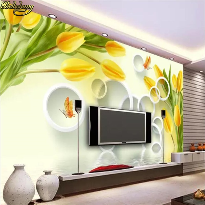 Beibehang personalizado papel de parede mural sonhador amarelo tulipa reflexão 3d estéreo tv fundo papéis decoração da sua casa