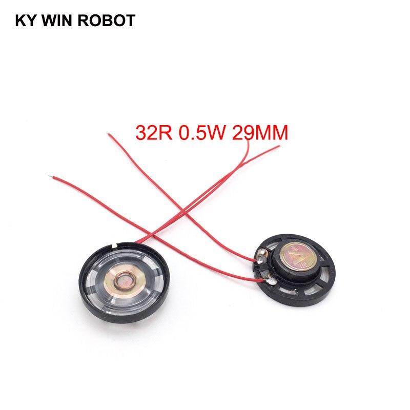 2 unids/lote de bocina ultrafina para coche de juguete de 32 ohmios 0,25 vatios 0,25 W 32R diámetro de altavoz 29MM 2,9 CM con cable
