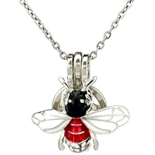K1060 Silver Enamel Rhinestone Insect Beauty Beads Pearl Cage Pendant Chain Aroma Essential Oil Diff