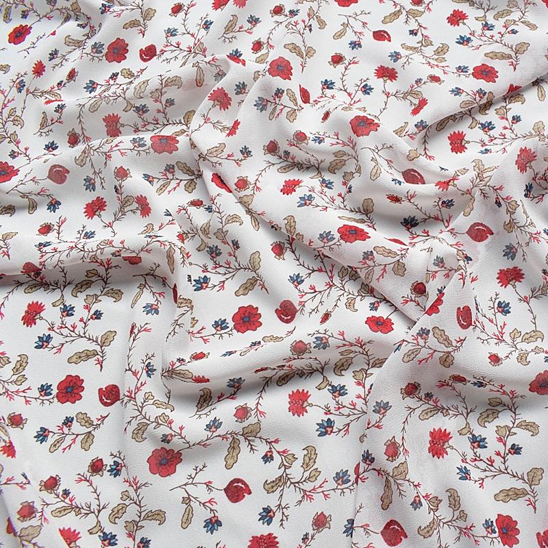 2018 Высококачественная шифоновая ткань с цветочным принтом, мягкая удобная одежда, ткань для женского платья, материал diy по метрам