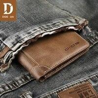 dide brand genuine leather wallets men vintage short design purses male female gift id credit card holder slim wallet women