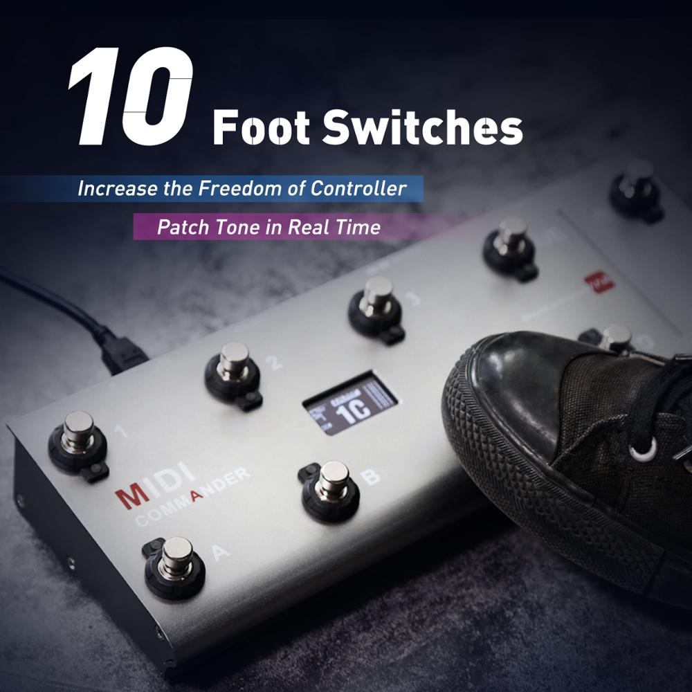 MIDI Commander Guitar Portable USB MIDI Foot Controller With 10 Foot Switches 2 Expression Pedal Jacks 8 Host Presets For Live enlarge