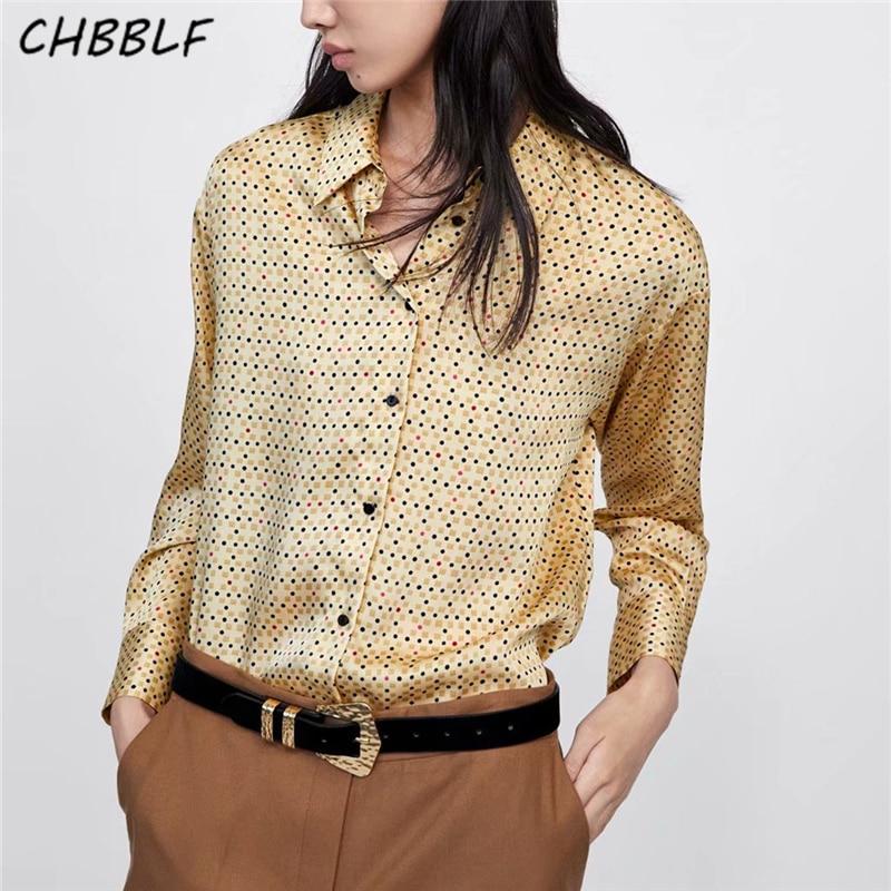 CHBBLF, blusa geométrica con estampado de puntos dulces para mujer, camisa informal de manga larga, camisetas amarillas chic para mujer, blusas C8720